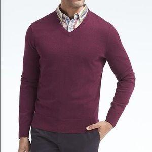 Banana Republic silk cotton blend v neck sweater